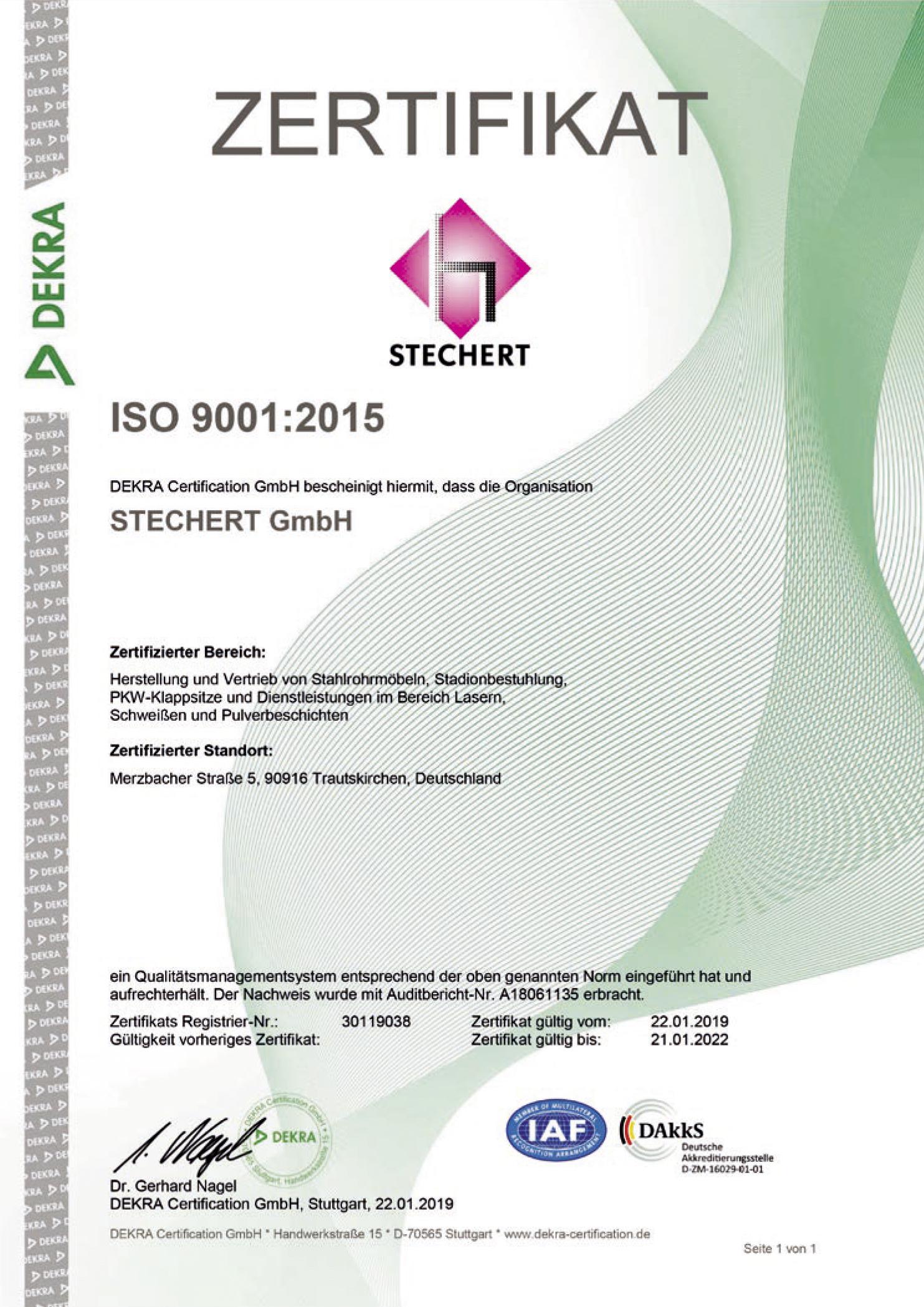 DEKRA Zertifikat ISO 9001